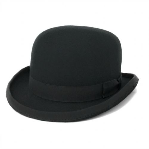 Black Bowler Hat - Wool Felt